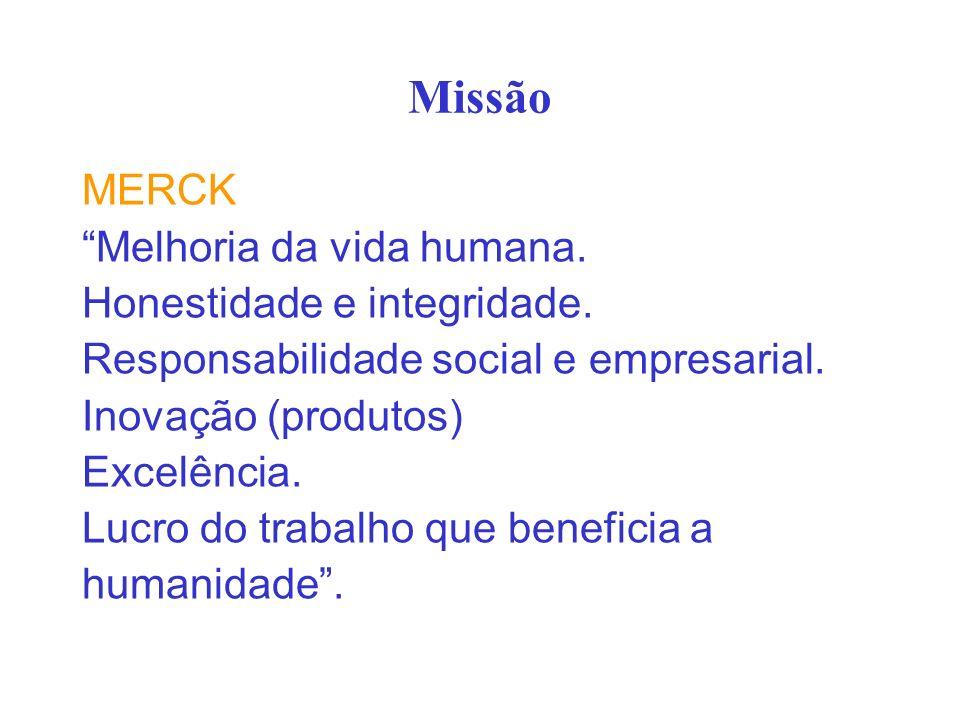 Missão MERCK Melhoria da vida humana. Honestidade e integridade.
