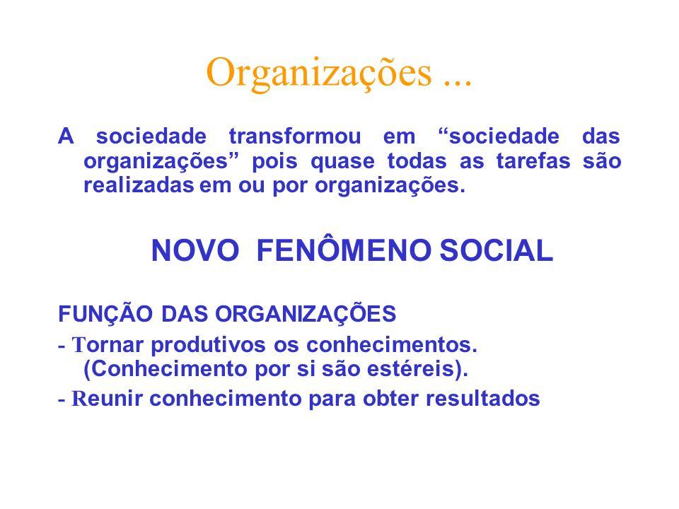 Organizações ... A sociedade transformou em sociedade das organizações pois quase todas as tarefas são realizadas em ou por organizações.