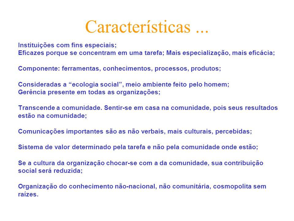 Características ... Instituições com fins especiais;