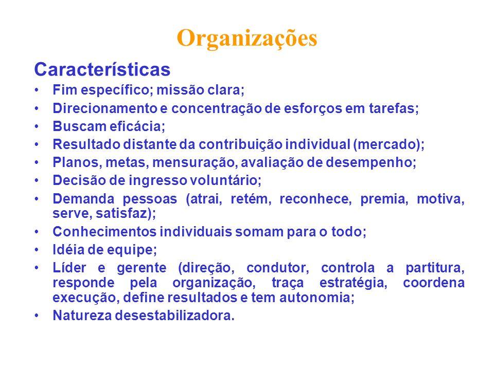 Organizações Características Fim específico; missão clara;