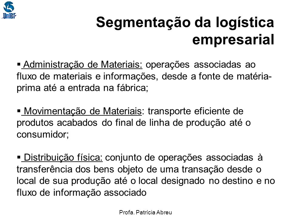 Segmentação da logística empresarial