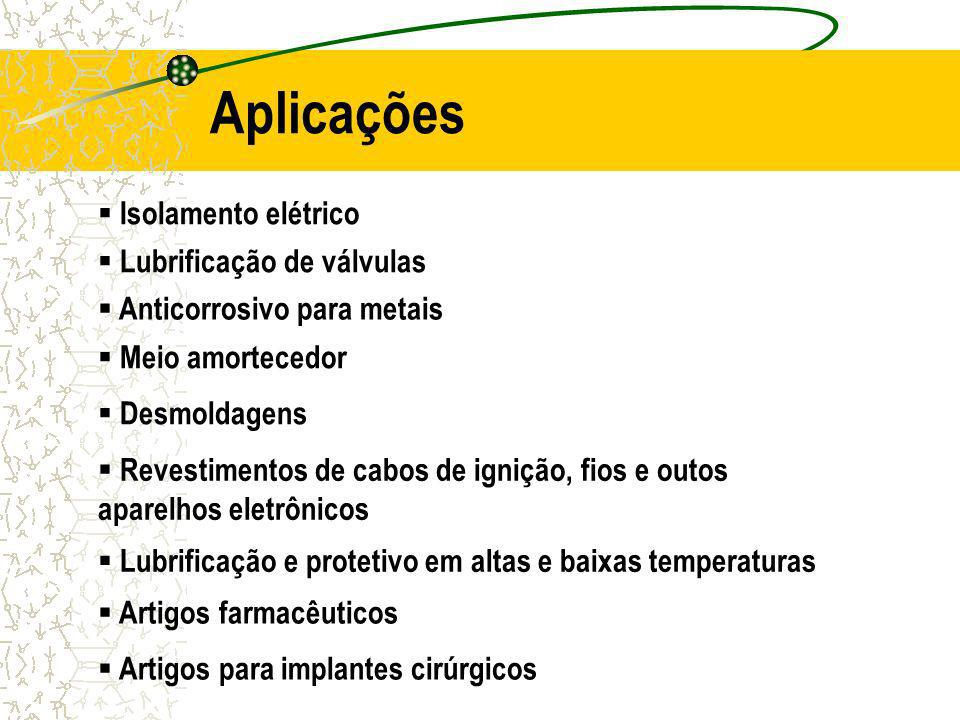Aplicações Isolamento elétrico Lubrificação de válvulas