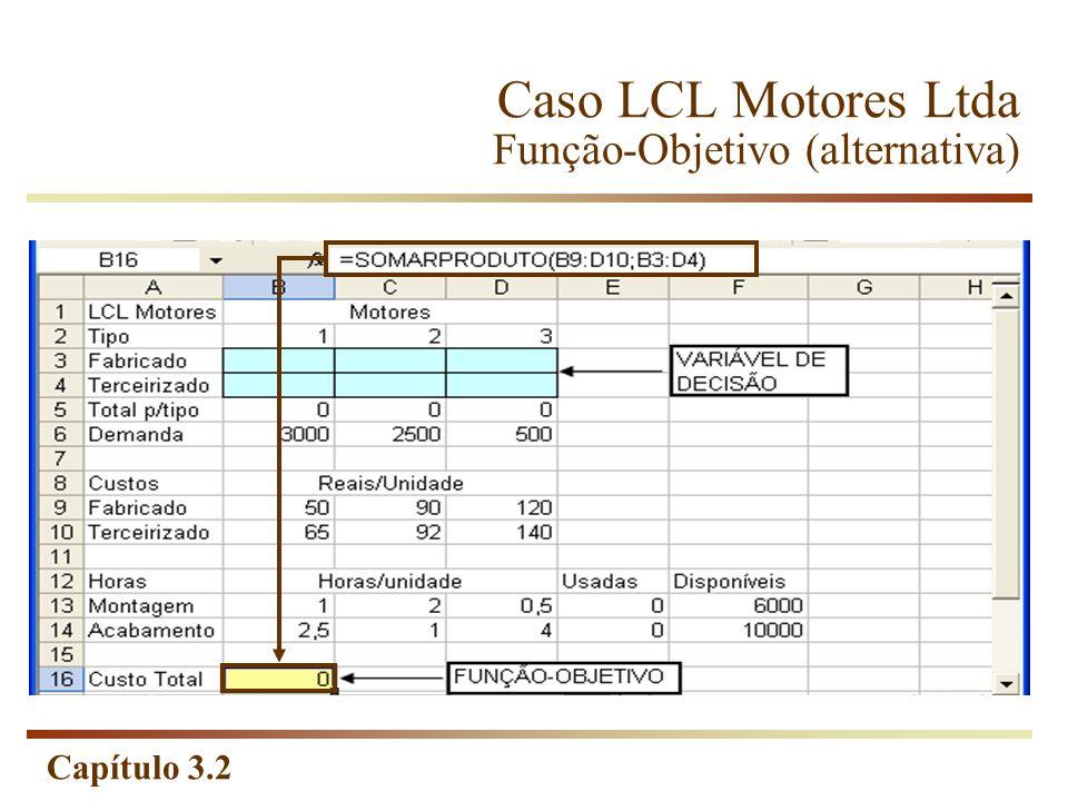 Caso LCL Motores Ltda Função-Objetivo (alternativa)