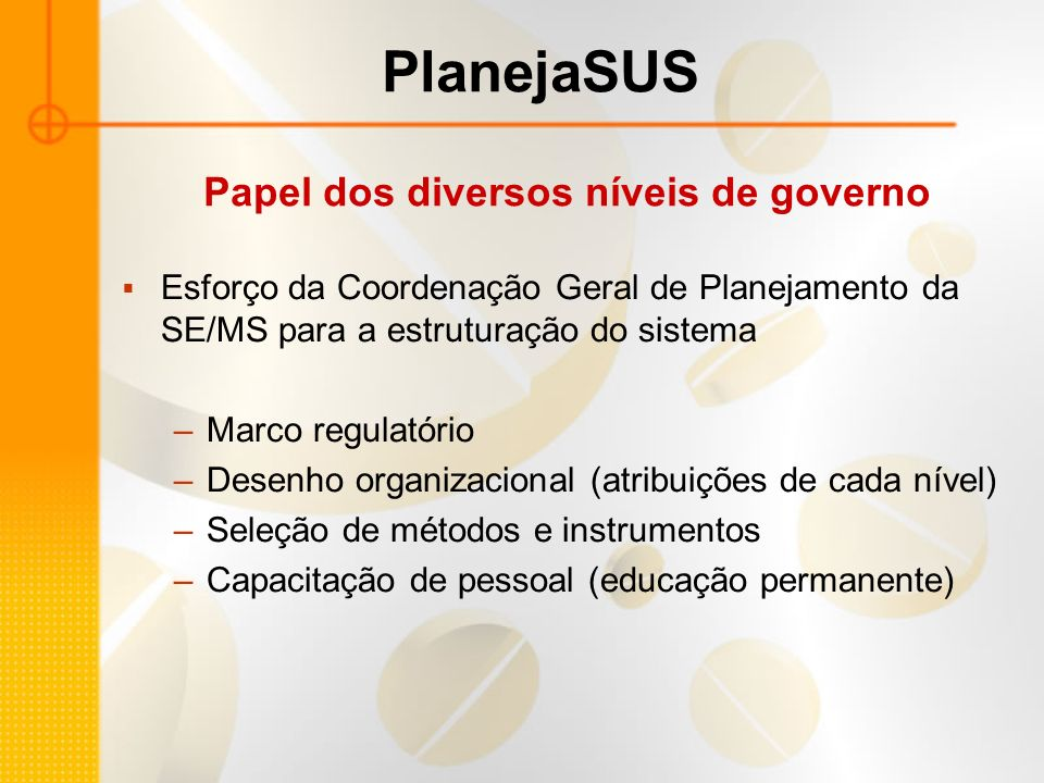 Papel dos diversos níveis de governo