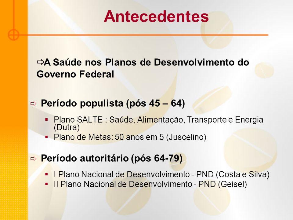 Antecedentes A Saúde nos Planos de Desenvolvimento do Governo Federal