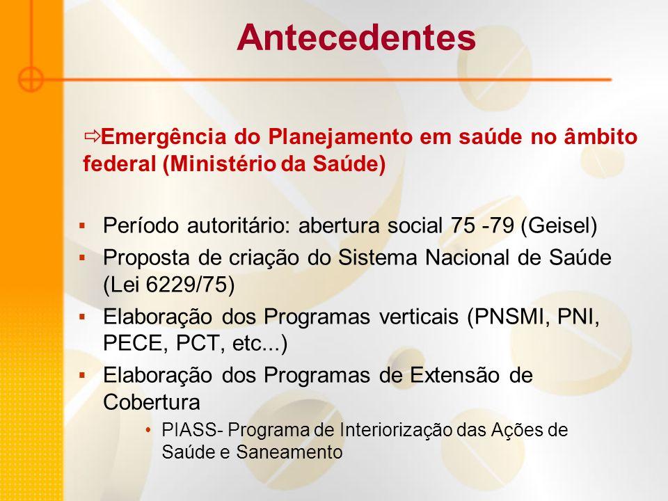 Antecedentes Emergência do Planejamento em saúde no âmbito federal (Ministério da Saúde) Período autoritário: abertura social 75 -79 (Geisel)