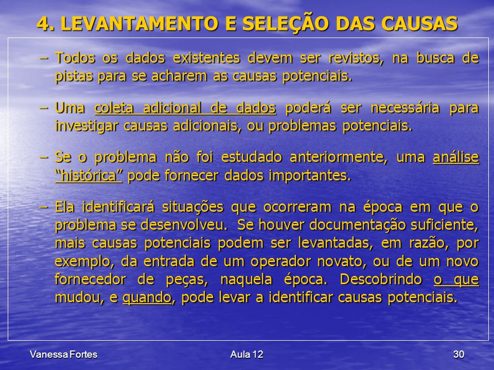 4. LEVANTAMENTO E SELEÇÃO DAS CAUSAS