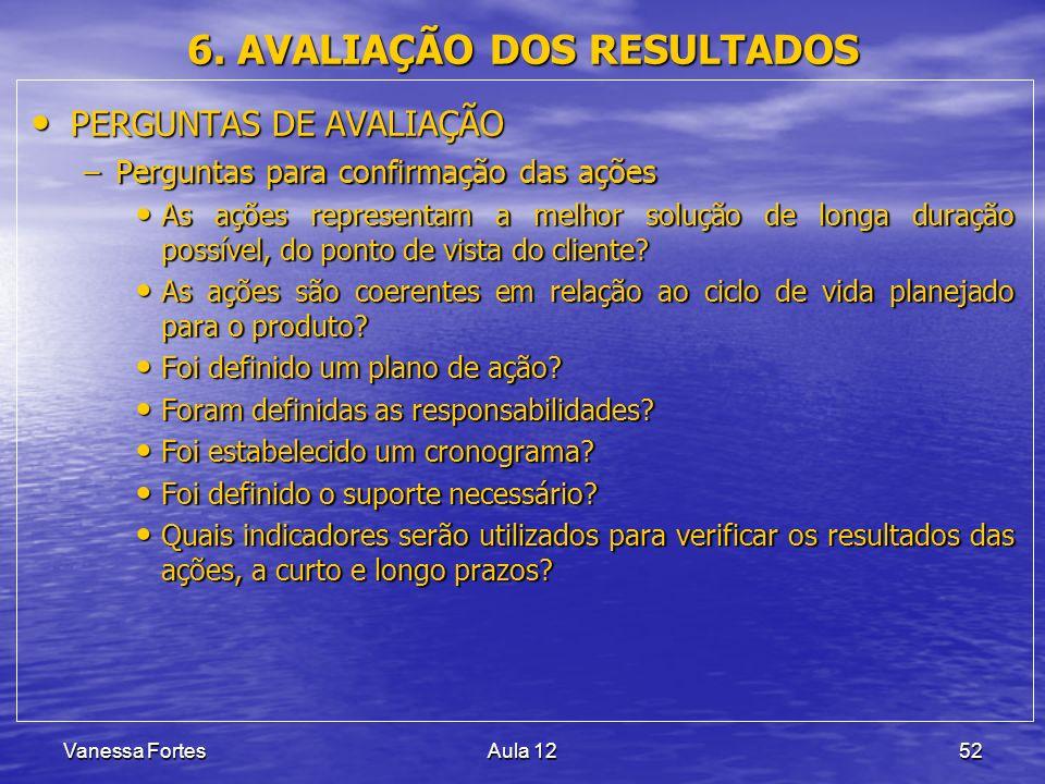 6. AVALIAÇÃO DOS RESULTADOS