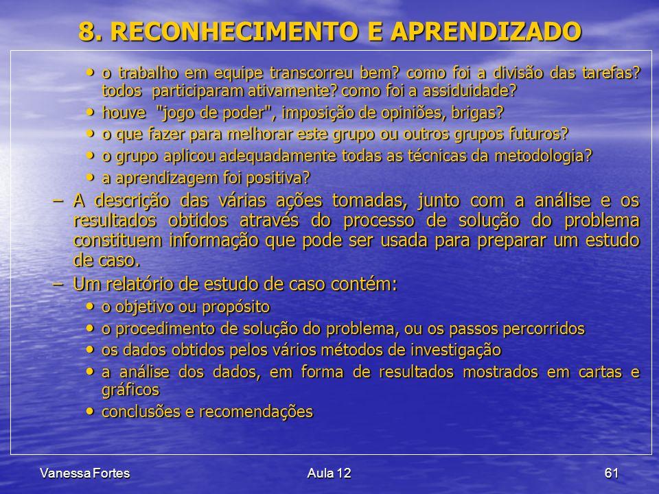 8. RECONHECIMENTO E APRENDIZADO