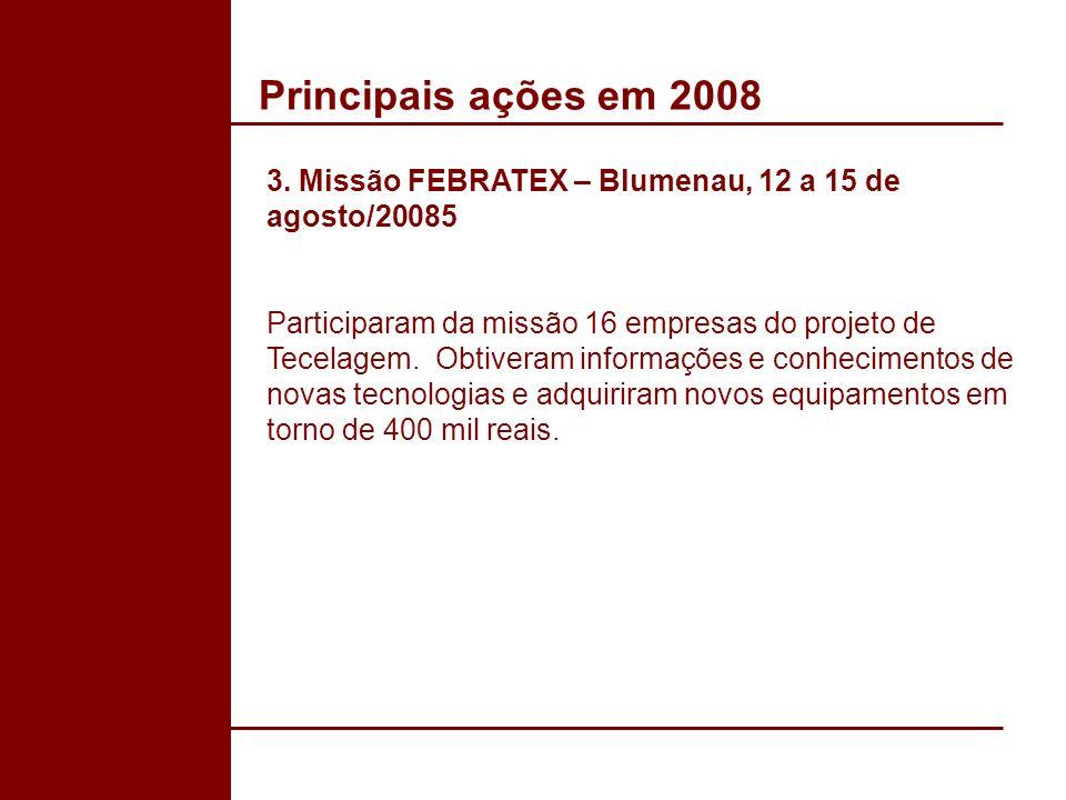 Principais ações em 2008 3. Missão FEBRATEX – Blumenau, 12 a 15 de agosto/20085.