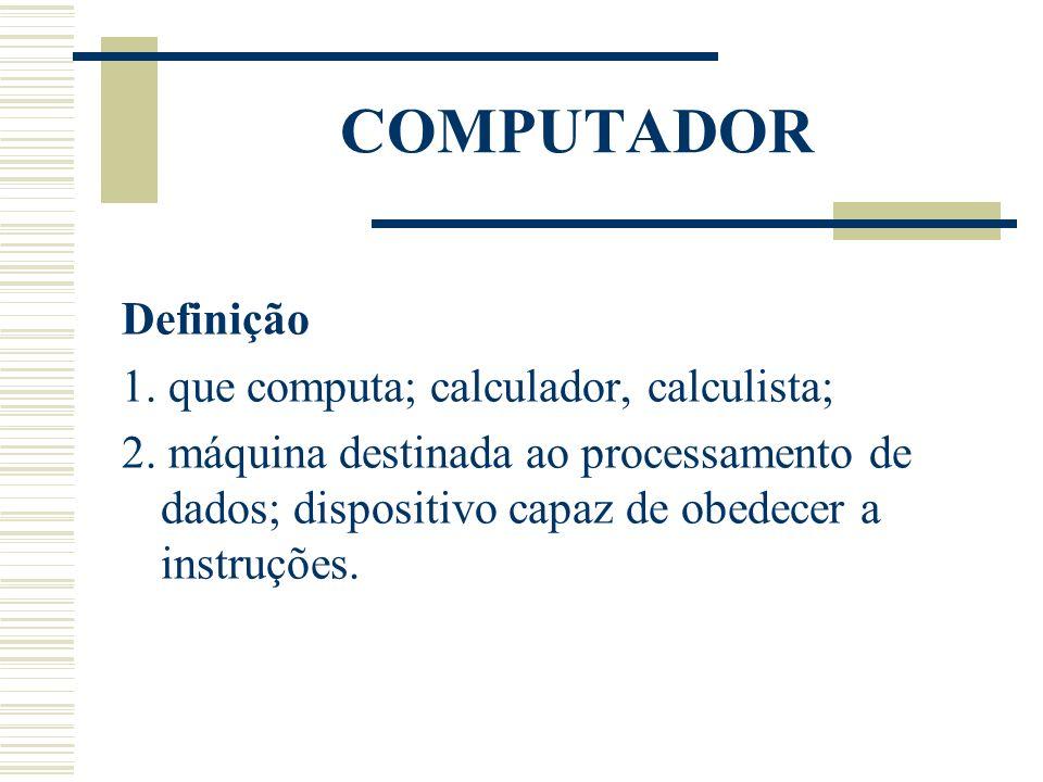 COMPUTADOR Definição 1. que computa; calculador, calculista;