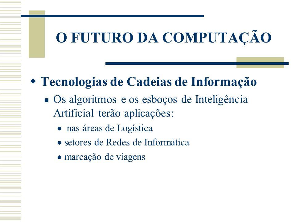 O FUTURO DA COMPUTAÇÃO Tecnologias de Cadeias de Informação