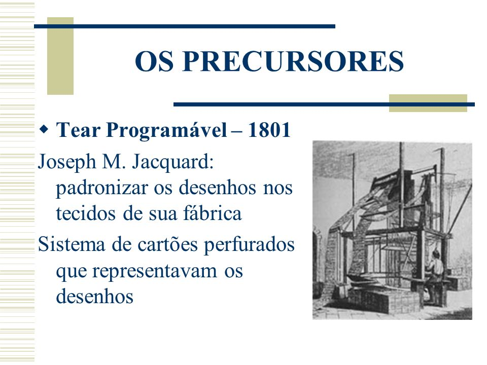 OS PRECURSORES Tear Programável – 1801