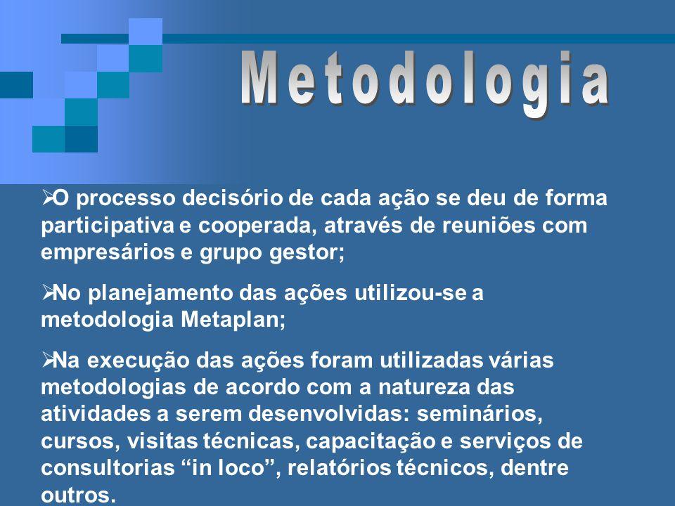 Metodologia O processo decisório de cada ação se deu de forma participativa e cooperada, através de reuniões com empresários e grupo gestor;