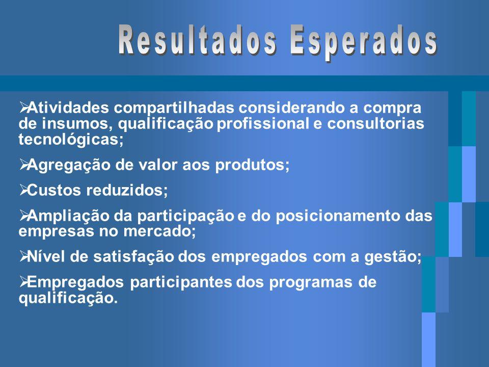 Resultados Esperados Atividades compartilhadas considerando a compra de insumos, qualificação profissional e consultorias tecnológicas;