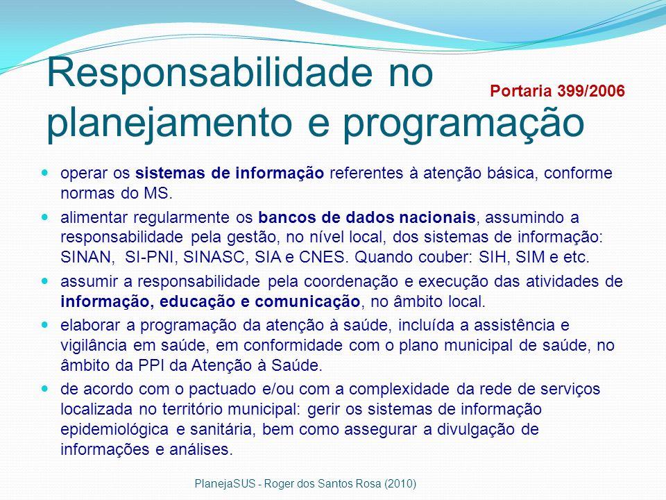 Responsabilidade no planejamento e programação