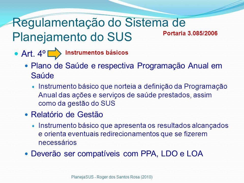Regulamentação do Sistema de Planejamento do SUS