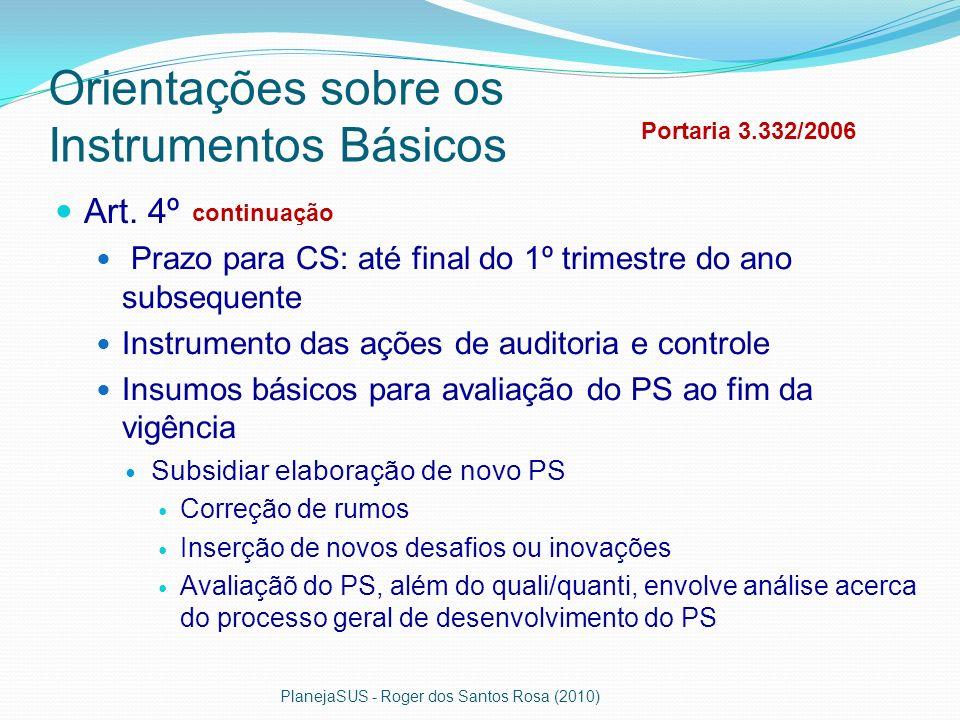 Orientações sobre os Instrumentos Básicos