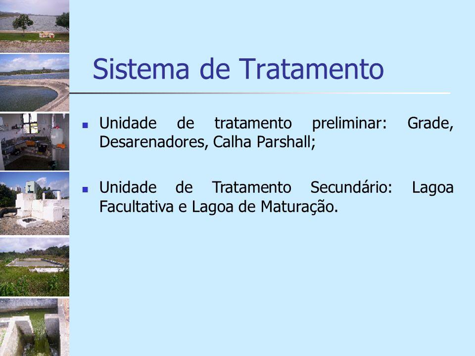 Sistema de Tratamento Unidade de tratamento preliminar: Grade, Desarenadores, Calha Parshall;