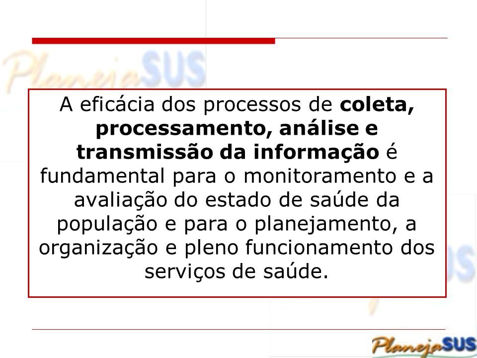 A eficácia dos processos de coleta, processamento, análise e transmissão da informação é fundamental para o monitoramento e a avaliação do estado de saúde da população e para o planejamento, a organização e pleno funcionamento dos serviços de saúde.