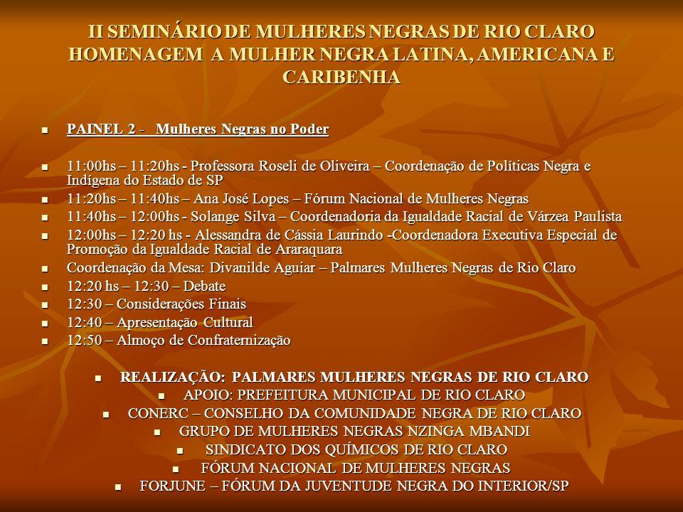REALIZAÇÃO: PALMARES MULHERES NEGRAS DE RIO CLARO