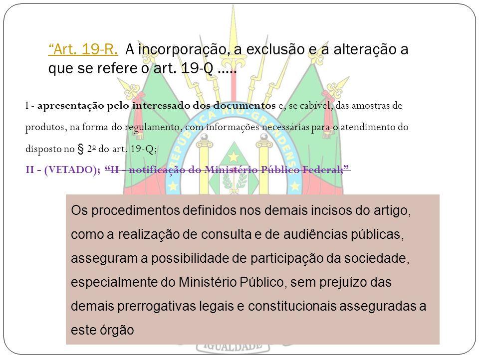 Art. 19-R. A incorporação, a exclusão e a alteração a que se refere o art. 19-Q .....