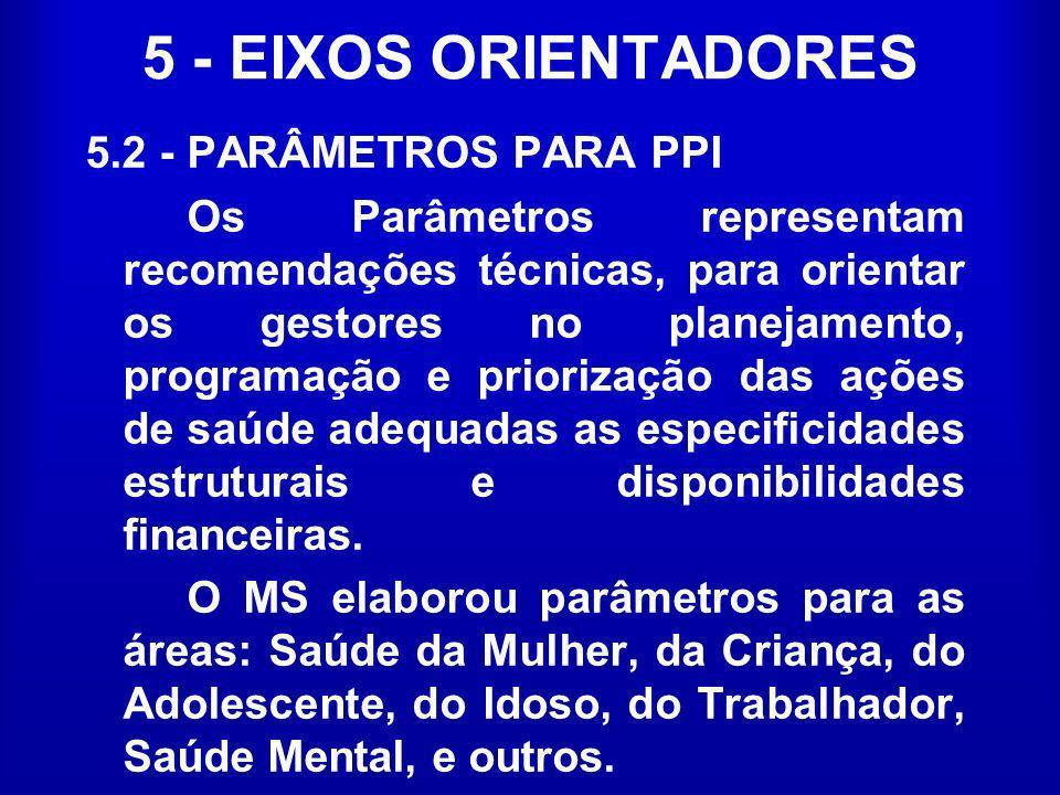 5 - EIXOS ORIENTADORES 5.2 - PARÂMETROS PARA PPI