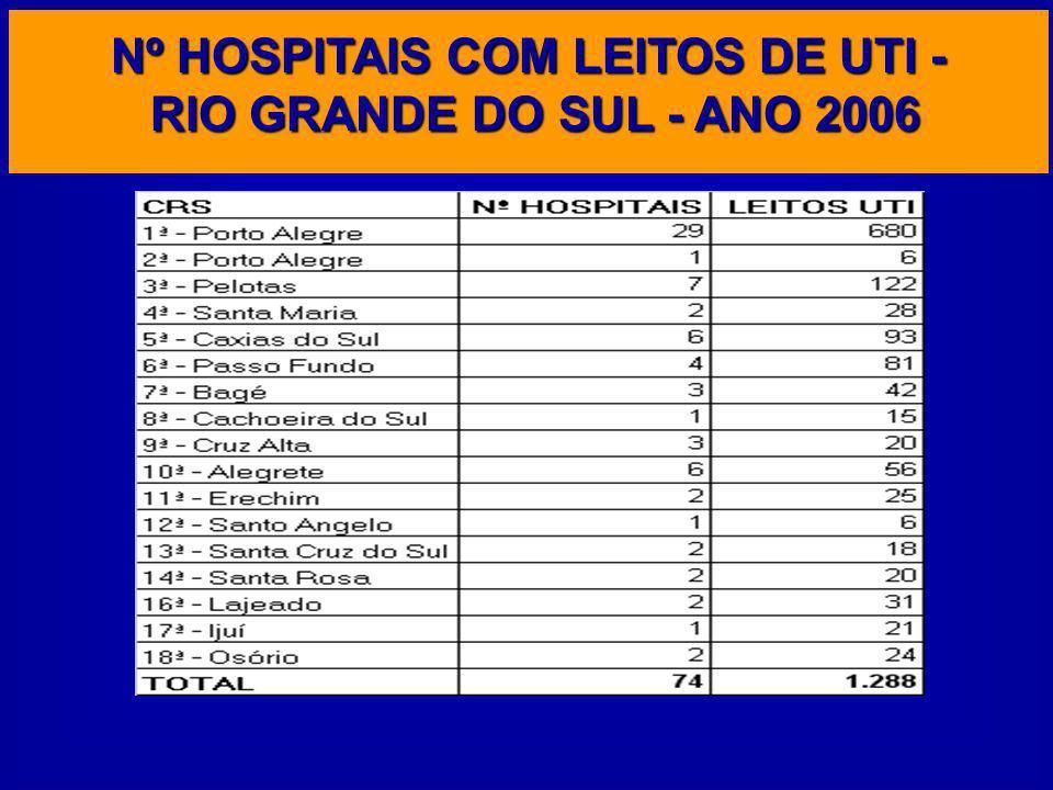 Nº HOSPITAIS COM LEITOS DE UTI - RIO GRANDE DO SUL - ANO 2006