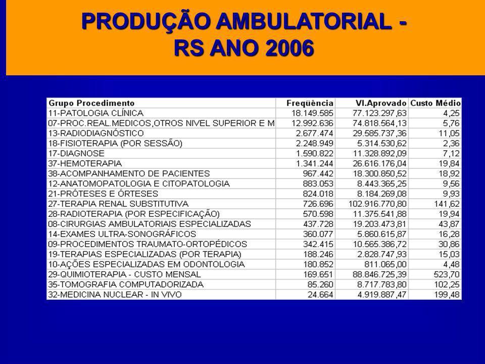 PRODUÇÃO AMBULATORIAL - RS ANO 2006