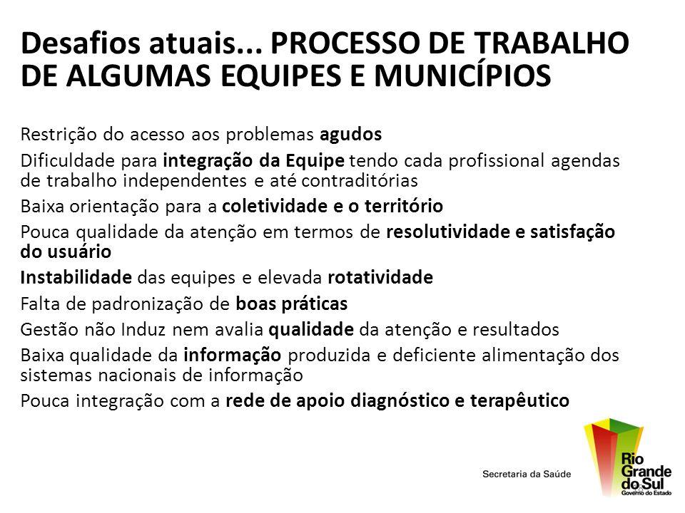 Desafios atuais... PROCESSO DE TRABALHO DE ALGUMAS EQUIPES E MUNICÍPIOS
