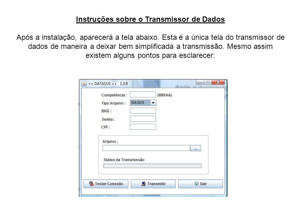 Instruções sobre o Transmissor de Dados