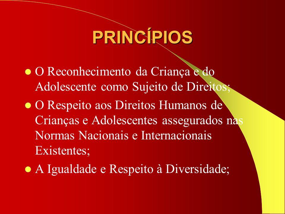 PRINCÍPIOS O Reconhecimento da Criança e do Adolescente como Sujeito de Direitos;