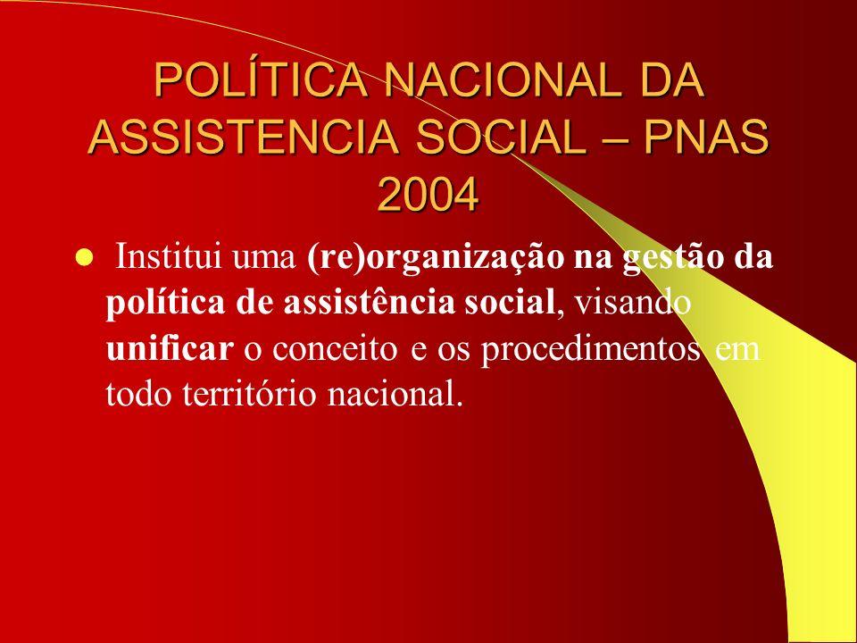 POLÍTICA NACIONAL DA ASSISTENCIA SOCIAL – PNAS 2004