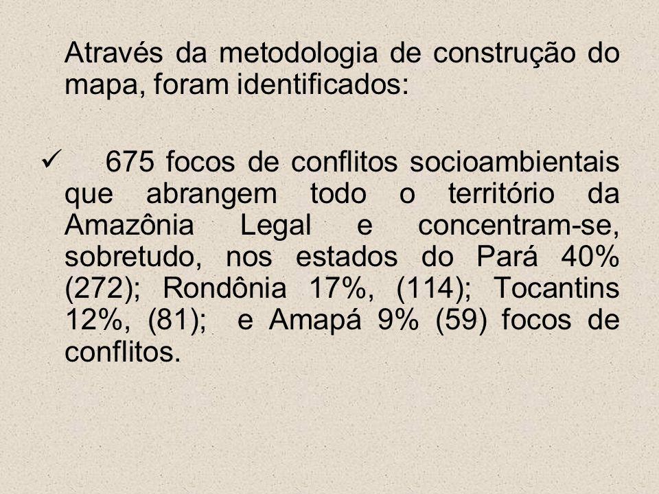 Através da metodologia de construção do mapa, foram identificados: