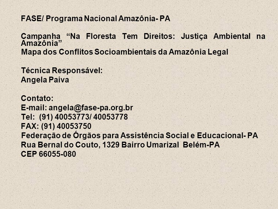 FASE/ Programa Nacional Amazônia- PA