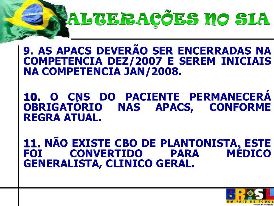 ALTERAÇÕES NO SIA9. AS APACS DEVERÃO SER ENCERRADAS NA COMPETENCIA DEZ/2007 E SEREM INICIAIS NA COMPETENCIA JAN/2008.
