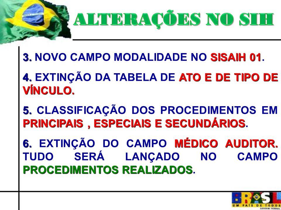 ALTERAÇÕES NO SIH 3. NOVO CAMPO MODALIDADE NO SISAIH 01.