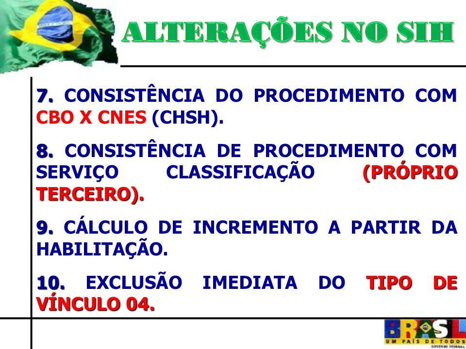 ALTERAÇÕES NO SIH 7. CONSISTÊNCIA DO PROCEDIMENTO COM CBO X CNES (CHSH).