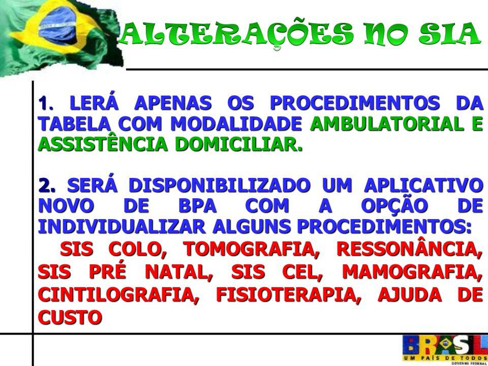 ALTERAÇÕES NO SIA 1. LERÁ APENAS OS PROCEDIMENTOS DA TABELA COM MODALIDADE AMBULATORIAL E ASSISTÊNCIA DOMICILIAR.