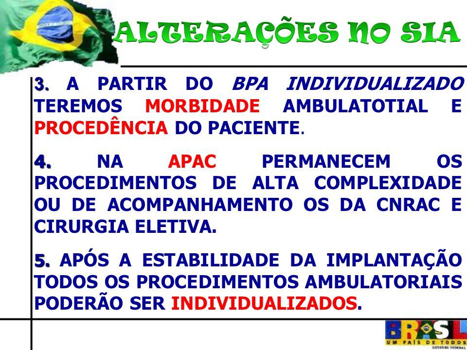ALTERAÇÕES NO SIA 3. A PARTIR DO BPA INDIVIDUALIZADO TEREMOS MORBIDADE AMBULATOTIAL E PROCEDÊNCIA DO PACIENTE.