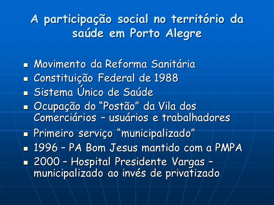 A participação social no território da saúde em Porto Alegre