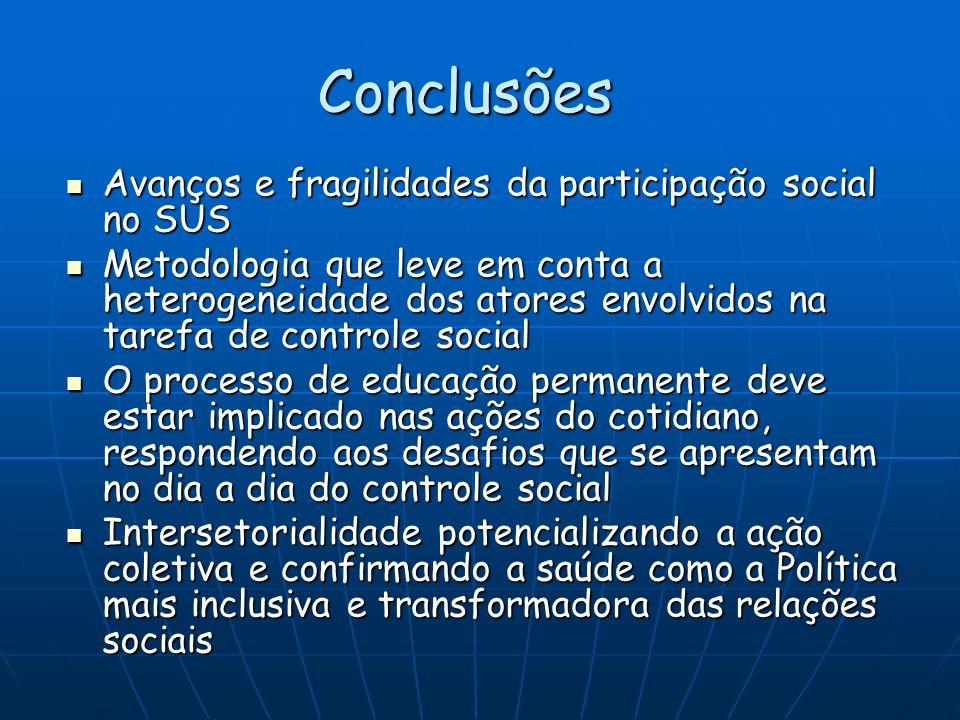 Conclusões Avanços e fragilidades da participação social no SUS