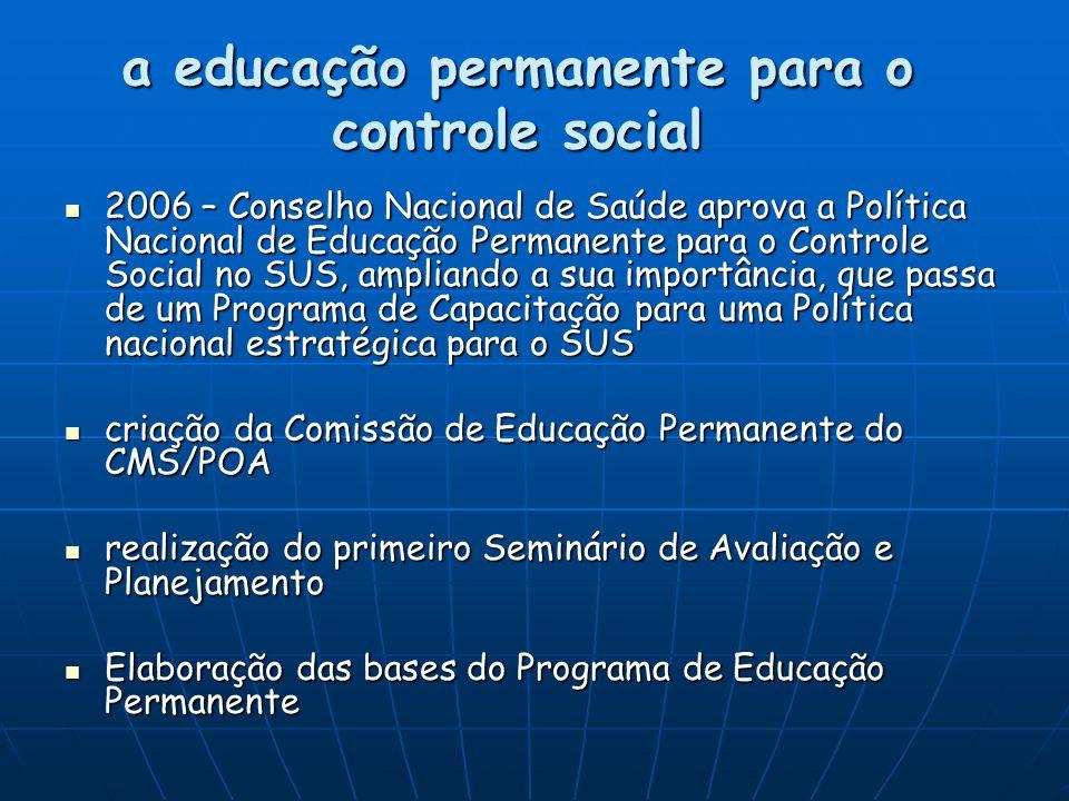 a educação permanente para o controle social
