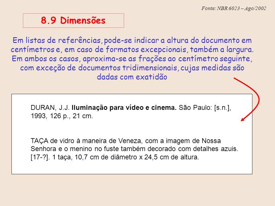 8.9 Dimensões