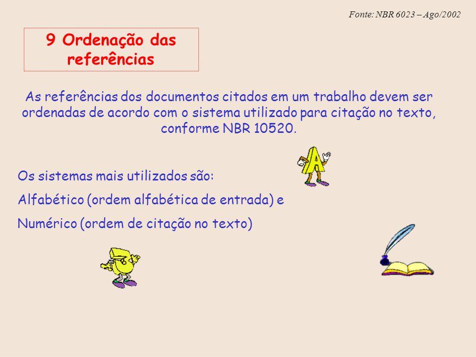 9 Ordenação das referências