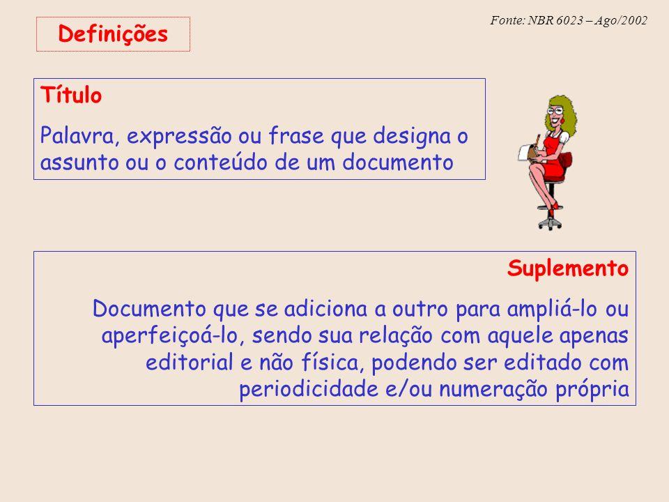 Definições Título. Palavra, expressão ou frase que designa o assunto ou o conteúdo de um documento.