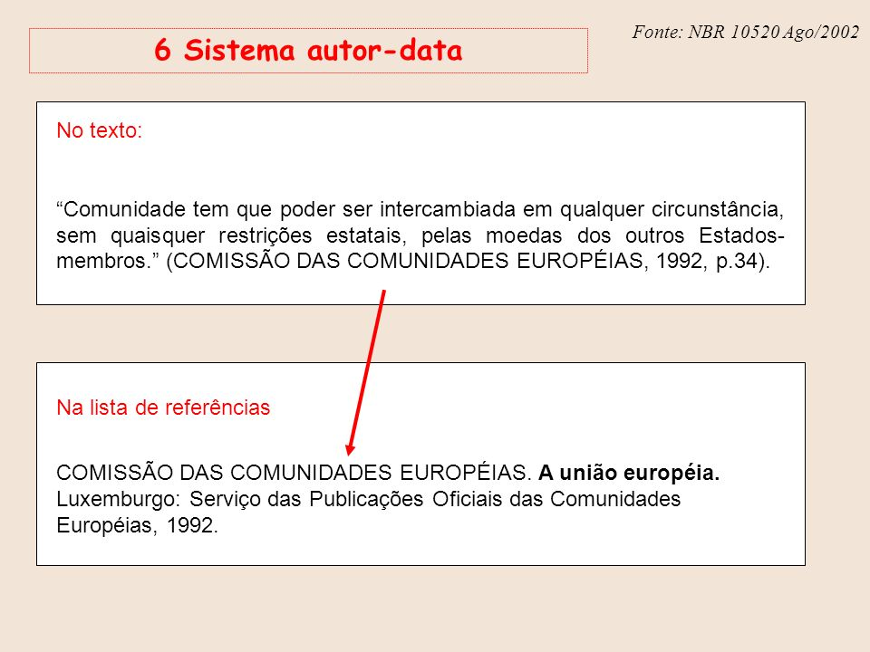 6 Sistema autor-data No texto: