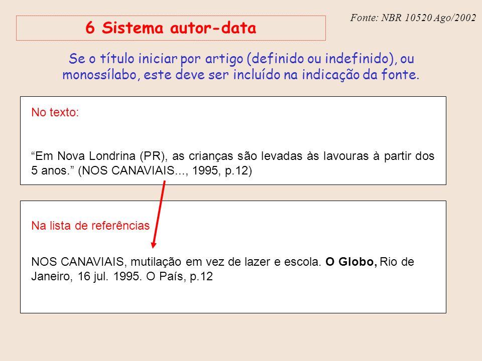 Fonte: NBR 10520 Ago/2002 6 Sistema autor-data.