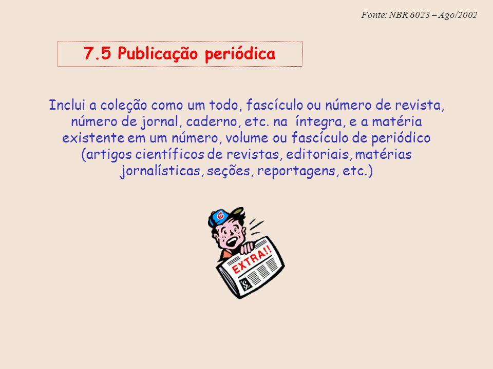 7.5 Publicação periódica