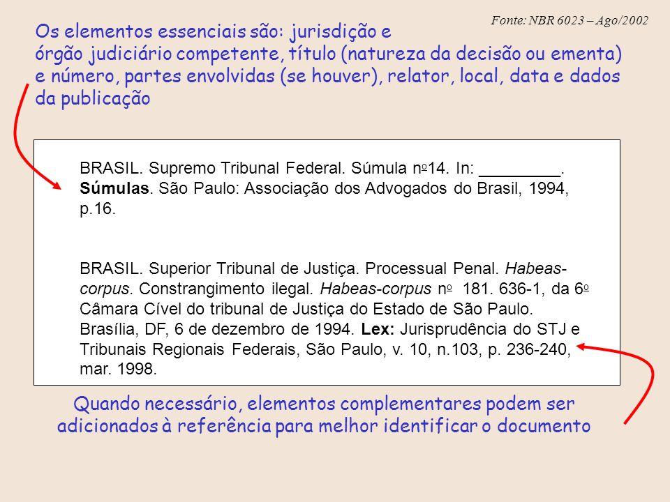 Os elementos essenciais são: jurisdição e órgão judiciário competente, título (natureza da decisão ou ementa) e número, partes envolvidas (se houver), relator, local, data e dados da publicação